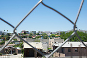 Photo Hollywood Modern wall art. Hollywood hills, houses seen through a metal fence. Los Angeles, Southern California landscape photography. Matted print, limited edition. Fine art photography print.