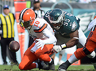 Philadelphia Eagles Brandon graham #55 causes Cleveland Browns Robert Griffing III to fumble in the fourth quarter Sunday, September 11, 2016 at Lincoln Financial Field in Philadelphia, Pennsylvania.  (Photo by William Thomas Cain)