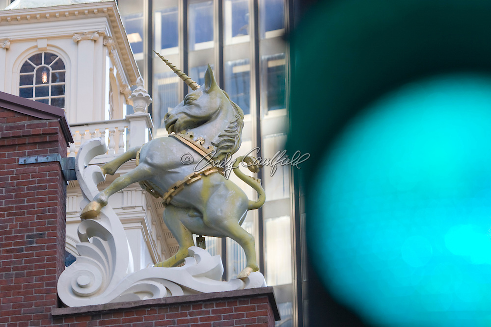 Detail of the Unicorn from the top of the Old State House a symbol of the British crown from pre-Revolutionary days. Boston, MA USA
