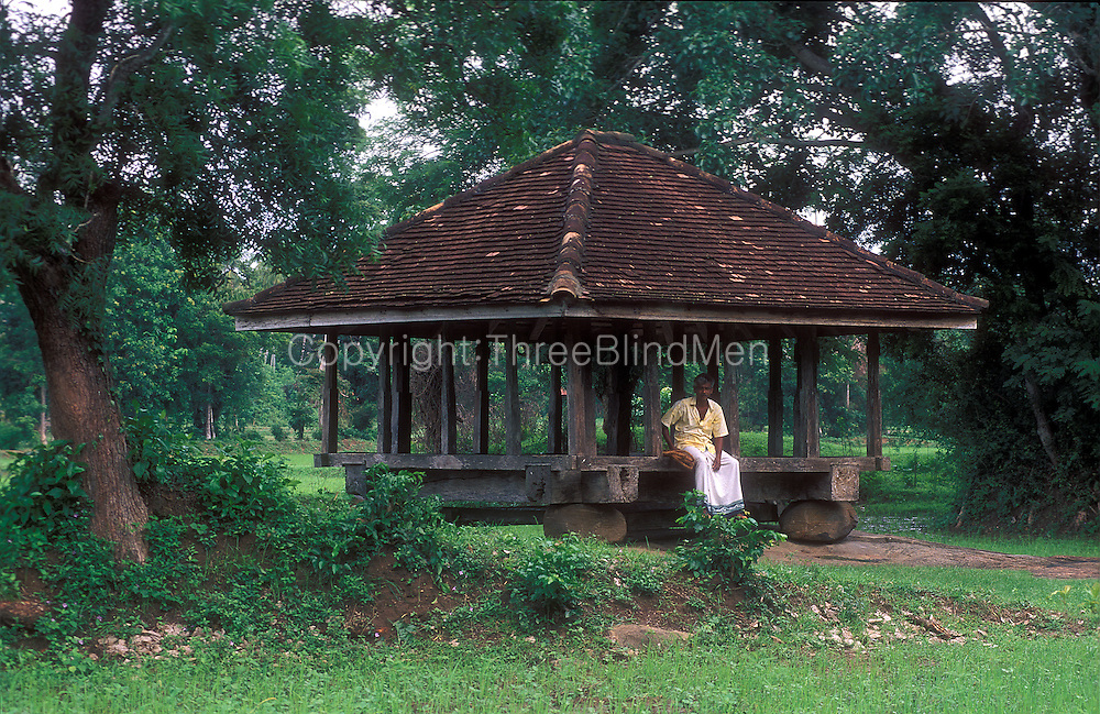 Sri Lanka. Man seated at Ambalama or Pilgrims rest in the Kurunegala District.