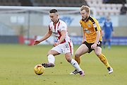 Billy Waters and Max Clark during the EFL Sky Bet League 2 match between Cambridge United and Cheltenham Town at the R Costings Abbey Stadium, Cambridge, England on 26 November 2016. Photo by Antony Thompson.
