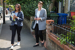 London, UK. 22 May, 2019. Caroline Lucas, Green Party MP for Brighton Pavilion, campaigns for the European elections in East Dulwich and Peckham with Gulnar Hasnain, who top the Green Party list in London.