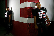 Photo by Alex Jones..Progreso Red Ants: #50 Marcelo Garcia, defensive tackle, #55 Javier Hernandez, defensive end.