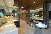 Spacious mirrored bathroom in California home