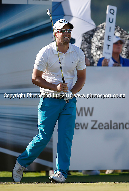 Kristopher Mueck of Australia during round three of the 2015 BMW New Zealand Golf Open, The Hills, Arrowtown, New Zealand 14 March 2015. Copyright Photo: Michael Thomas / www.photosport.co.nz