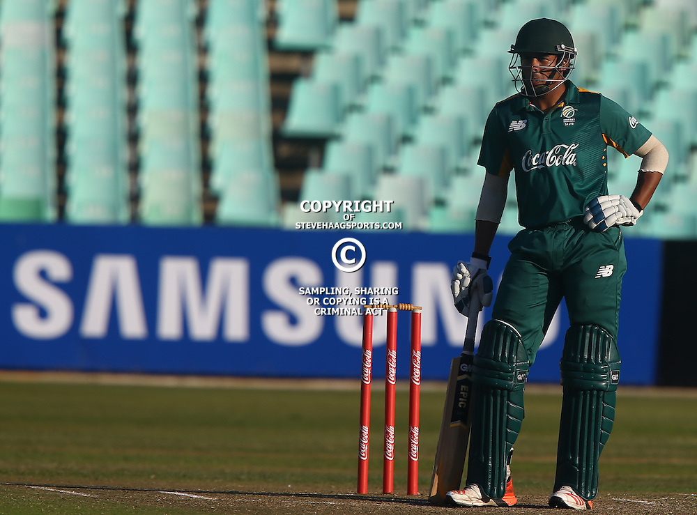 DURBAN, SOUTH AFRICA ,Sunday 19th July, Abdu Galliem of SA u19s during the  South African under 19s vs the Bangladesh under 19s Cricket Series the last ODI match at Sahara Stadium Kingsmead Sunday 19th July Durban (Photo by Steve Haag)
