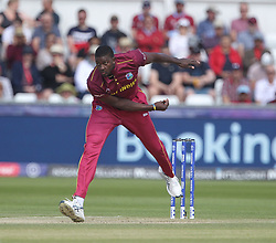 July 1, 2019 - Chester Le Street, County Durham, United Kingdom - West Indies' Jason Holder bowling during the ICC Cricket World Cup 2019 match between Sri Lanka and West Indies at Emirates Riverside, Chester le Street on Monday 1st July 2019. (Credit Image: © Mi News/NurPhoto via ZUMA Press)