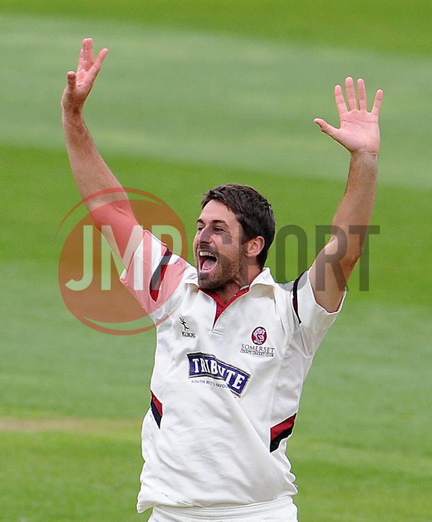 Somerset's Tim Groenenwald unsuccessfully appeals for the wicket of New Zealand's BJ Watling. Photo mandatory by-line: Harry Trump/JMP - Mobile: 07966 386802 - 10/05/15 - SPORT - CRICKET - Somerset v New Zealand - Day 3- The County Ground, Taunton, England.