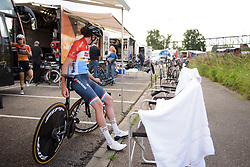 Christine Majerus waits for her teammates to go and check out the course at Boels Rental Ladies Tour Stage 3 a 16.9 km individual time trial in Roosendaal, Netherlands on August 31, 2017. (Photo by Sean Robinson/Velofocus)