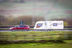 © Licensed to London News Pictures. 14/04/2017. Huddersfield UK. Picture shows people making their getaway for the easter weekend on the M62 near Bradford in Yorkshire. Photo credit: Andrew McCaren/LNP