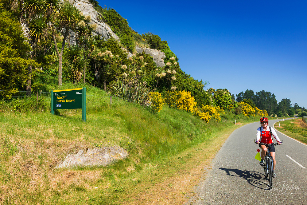 Cyclist at the Raincliff Historic Reserve, Canterbury, South Island, New Zealand