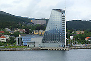 Modern architecture sixteen storey Rica Seilet Hotel, Molde, Romsdal county, Norway built 2002