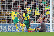 The Norwich players look dejected after conceding their side&rsquo;s 1st goal during the Barclays Premier League match at Carrow Road, Norwich<br /> Picture by Paul Chesterton/Focus Images Ltd +44 7904 640267<br /> 24/10/2015