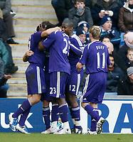 Photo: Steve Bond/Richard Lane Photography. West Bromwich Albion v Newcastle United. Barclays Premiership. 07/02/2009. Steven Taylor celebrates no3
