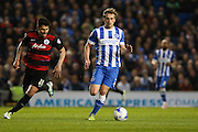 Brighton striker (on loan from Manchester United), James Wilson (21) during the Sky Bet Championship match between Brighton and Hove Albion and Queens Park Rangers at the American Express Community Stadium, Brighton and Hove, England on 19 April 2016. Photo by Phil Duncan.