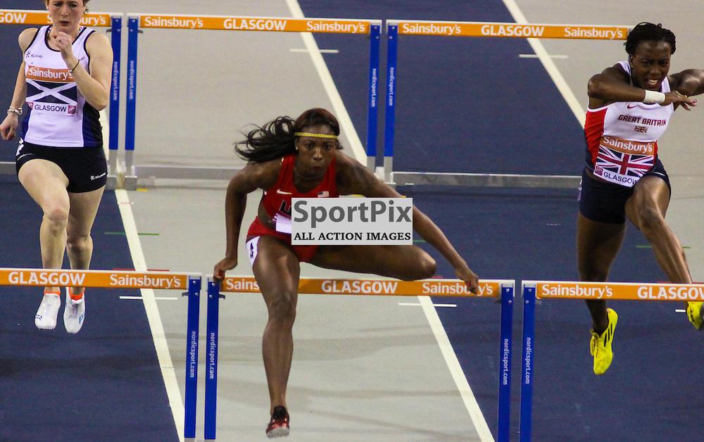 Nia ali wins the 60m hurdles for usa(c) CRAIG JARDINE | SportPix.Org.uk