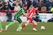 Dannie Bulman midfielder of AFC Wimbledon (4) and Shay McCartan striker Accrington Stanley (17) during the Sky Bet League 2 play-off 2nd leg match between Accrington Stanley and AFC Wimbledon at the Fraser Eagle Stadium, Accrington, England on 18 May 2016. Photo by Stuart Butcher.