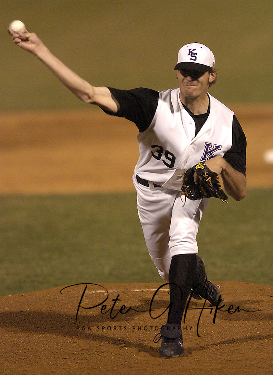 Kansas State RHP Brett Muegge fires in a pitch against Wichita State.  Kansas State defeated Wichita State 6-5 at Tointon Stadium in Manhattan, Kansas, March 29, 2005.