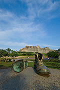 The old shoes monument, San Felipe de Barajas, spanish fortress (1657) ,It is the biggest Spanish fort in the New World, Cartagena de Indias, Bolivar Department, Colombia, South America.