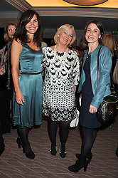 Left to right, HELENA SAMPSON Managing Director, Europe at NARS Cosmetics, TRUDI COLLISTER of Aramis & Designer Fragrances and REBECCA HOPKINS at the Cosmetic Executive Women (CEW) UK Beauty Awards 2012 held at the Intercontinental Hotel, Hamilton Place, London on 27th March 2012.