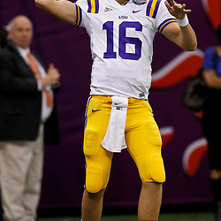Jan 9, 2012; New Orleans, LA, USA; LSU Tigers quarterback Stephen Rivers (16) against the Alabama Crimson Tide before the 2012 BCS National Championship game at the Mercedes-Benz Superdome.  Mandatory Credit: Derick E. Hingle-US PRESSWIRE