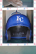ANAHEIM, CA - APRIL 07:  A Kansas City Royals batting helmet sits in a bin during the game against the Los Angeles Angels of Anaheim on Saturday, April 7, 2012 at Angel Stadium in Anaheim, California. The Royals won the game 6-3. (Photo by Paul Spinelli/MLB Photos via Getty Images)