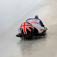27 February 2007:  Amy Williams of Great Britain slides through the Chicane in the 3rd run at the Women's Skeleton World Championships competition on February 27 at the Olympic Sports Complex in Lake Placid, NY.