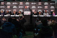 LONDON, ENGLAND, FEBRUARY 13, 2013: A general view of the podium during the pre-fight press conference for UFC on Fuel TV 7 inside London Shootfighters Gym in Park Royal, London, England on Wednesday, February 13, 2013 © Martin McNeil