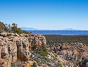 View of the Grand Canyon from Pipe Creek Vista lookout on the south rim with the snow capped San Francisco Peaks on the horizon, Arizona, USA, April 2014