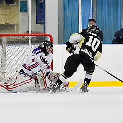NORTH YORK, ON - Feb 9 : Ontario Junior Hockey League Game Action between North York Rangers Hockey Club and the Trenton Golden Hawks Hockey Club.  Mat Thompson #10 of the Trenton Golden Hawks Hockey Club scores the game winning goal during the shoot out.<br /> (Photo by Phillip Sutherland / OJHL Images)