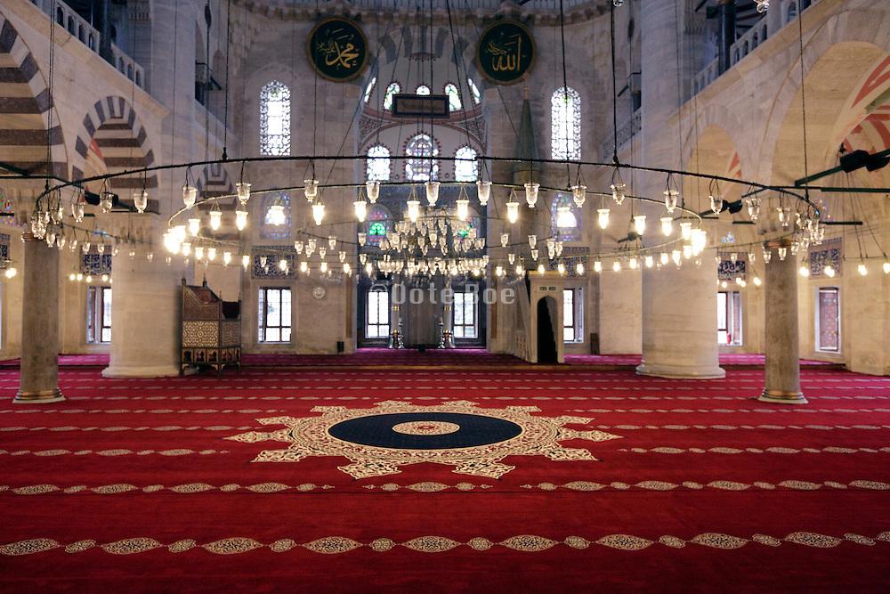 inside Sultanahmet Camii Mosque Istanbul Turkey
