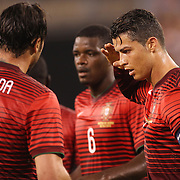 Cristiano Ronaldo, Portugal, celebrates a goal from team mate Hugo Almeida, (left), during the Portugal V Ireland International Friendly match in preparation for the 2014 FIFA World Cup in Brazil. MetLife Stadium, Rutherford, New Jersey, USA. 10th June 2014. Photo Tim Clayton