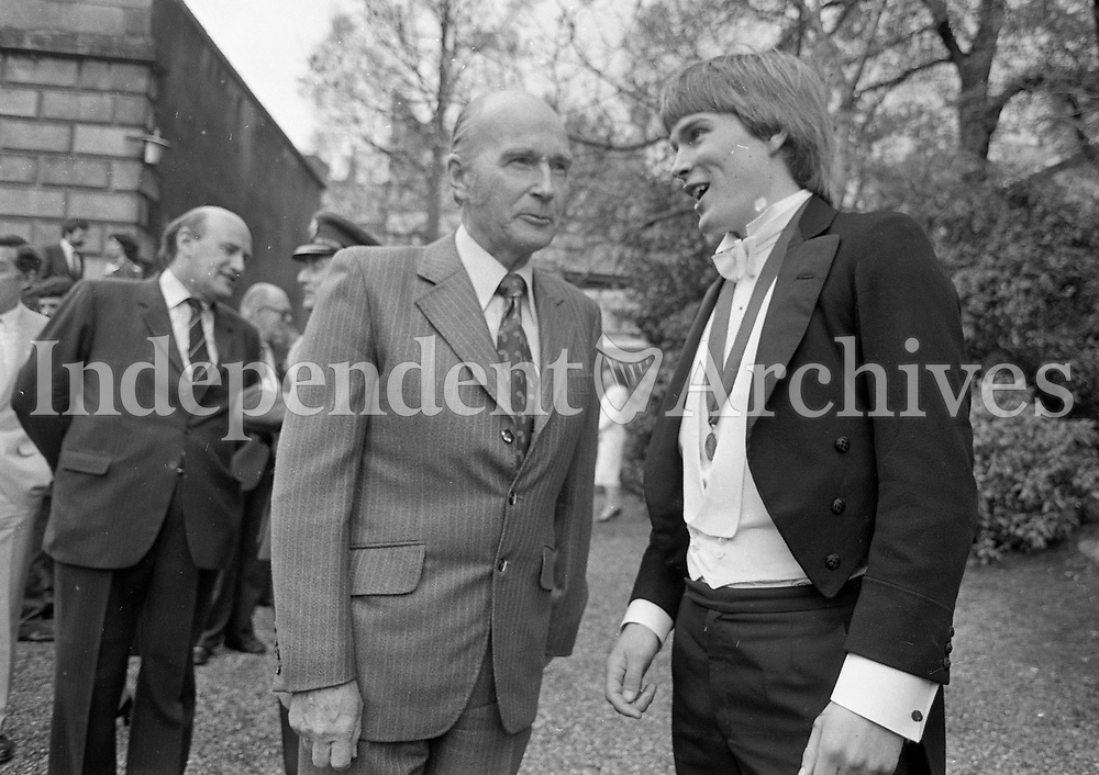 President Patrick Hillery at the Edwardian Tea Party at Trinity College in Dublin, 12/05/1983 (Part of the Independent Newspapers Ireland/NLI Collection).