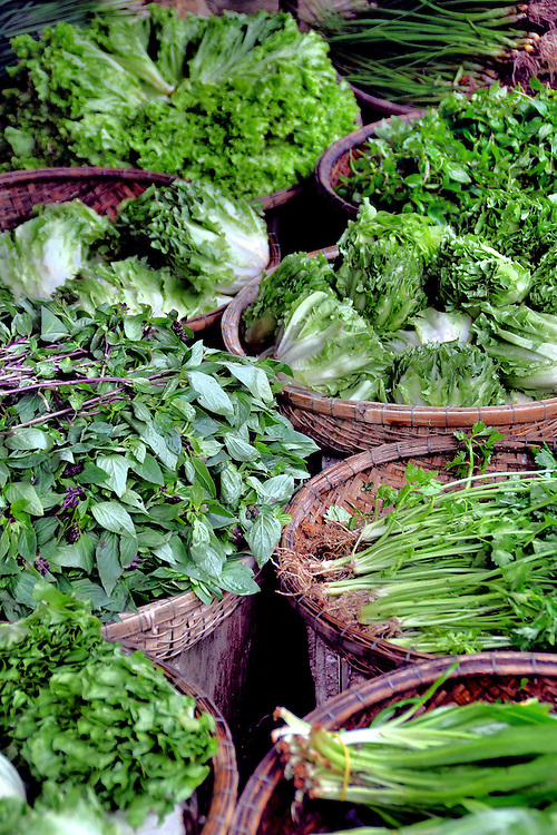 Mixed Green Vegetable Display at Ding Ba Market in Hue, Vietnam<br />