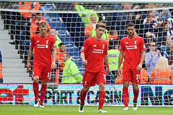 WEST BROMWICH, ENGLAND - Sunday, May 15, 2016: Liverpool's Martin Skrtel, Cameron Brannagan and Kevin Stewart look dejected as West Bromwich Albion score the opening goal during the final Premier League match of the season at the Hawthorns. (Pic by David Rawcliffe/Propaganda)