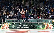 Premiazione Migliore Difensore, Stefano Tonut, Egidio Bianchi<br /> Umana Reyer Venezia - Happycasa Brindisi<br /> Finale<br /> LBA Legabasket Serie A Final 8 Coppa Italia 2019-2020<br /> Pesaro, 16/02/2020<br /> Foto L.Canu / Ciamillo-Castoria