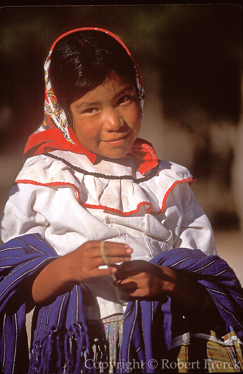 MEXICO, NORTH, CHIHUAHUA STATE Copper Canyon or Barranca del Cobre in the Sierra Madre; Tarahumara Indians, young girl; near Creel