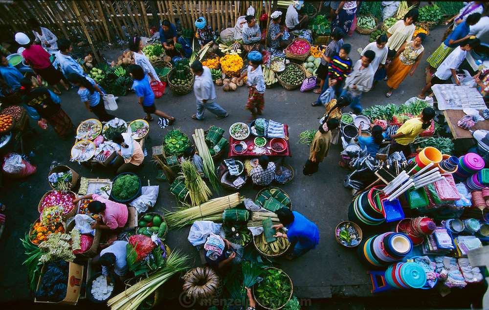 The Ubud market in which can be found lotus pods, rambutan fruits, lychee nuts, edible cactus pears, and the expensive and sought after bee larvae, Ubud, Bali, Indonesia. (page 62, 63)
