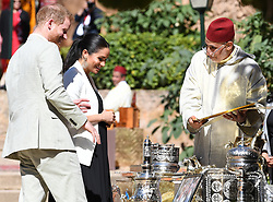 Prince Harry, Duke of Sussex, and Meghan Markle, Duchess of Sussex visit a market at the Adalusian Gardens in Rabat, Morocco, on the 25th February 2019. 25 Feb 2019 Pictured: Prince Harry, Duke of Sussex, Meghan Markle, Duchess of Sussex. Photo credit: James Whatling / MEGA TheMegaAgency.com +1 888 505 6342