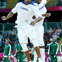06 August 2012: France Yakhouba Diawara and Mickael Gelabale are seen during the players introduction prior to the 79-73 Team France victory over Team Nigeria, during the men's basketball preliminary, at the Basketball Arena, in London, Great Britain.