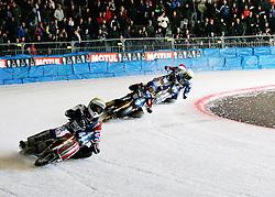 13.03.2016, Assen, BEL, FIM Eisspeedway Gladiators, Assen, im Bild Stefan Svensson (SWE), Igor Kononov (RUS), Stefan Pletschacher (GER) // during the Astana Expo FIM Ice Speedway Gladiators World Championship in Assen, Belgium on 2016/03/13. EXPA Pictures &copy; 2016, PhotoCredit: EXPA/ Eibner-Pressefoto/ Stiefel<br /> <br /> *****ATTENTION - OUT of GER*****