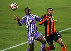 Luiz Adriano challenges for the ball from Danny Nounkeu. Toulouse v Shakatar Donestk, Uefa Europa League, Stade Municipal, Toulouse, France, 5th November 2009.