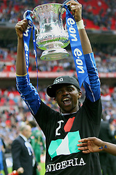 LONDON, ENGLAND - Saturday, May 17, 2008: Portsmouth's Nwankwo Kanu celebrates with FA Cup trophy after beating Cardiff City 1-0 during the FA Cup Final at Wembley Stadium. (Photo by Chris Ratcliffe/Propaganda)