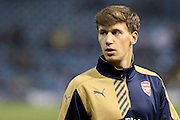 Arsenal midfielder Krystian Bielik warms up ahead of the Capital One Cup Fourth Round match between Sheffield Wednesday and Arsenal at Hillsborough, Sheffield, England on 27 October 2015. Photo by Aaron Lupton.