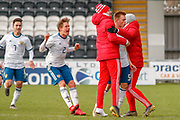 Russia's Vadim Konyukhov celebrates his long range effort  during the U17 European Championships match between Scotland and Russia at Simple Digital Arena, Paisley, Scotland on 23 March 2019.