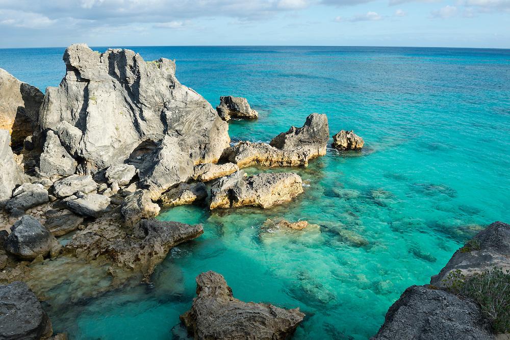 View of the coast in Horseshoe Bay, Bermuda