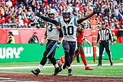 Touchdown, Carolina Panthers Wide Receiver Curtis Samuel (10) scores a touchdown during the International Series match between Tampa Bay Buccaneers and Carolina Panthers at Tottenham Hotspur Stadium, London, United Kingdom on 13 October 2019.