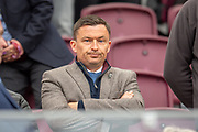 Hibs manager Paul Heckingbottom watches from the stand before the Ladbrokes Scottish Premiership match between Heart of Midlothian and Kilmarnock at Tynecastle Stadium, Gorgie, Scotland on 4 May 2019.