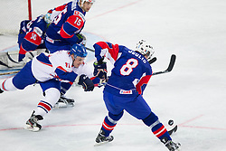 Jeff Hutchins of Great Britain vs Ziga Jeglic of Slovenia during ice-hockey match between Great Britain and Slovenia at IIHF World Championship DIV. I Group A Slovenia 2012, on April 15, 2012 in Arena Stozice, Ljubljana, Slovenia. (Photo by Vid Ponikvar / Sportida.com)