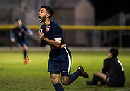 St. Lucie West Centennial's Rian Jamai celebrates scoring the game-winning goal with two minutes left in the second half against Jupiter during the high school boys soccer District 10-5A championship Friday, Feb. 2, 2019, at South County Regional Stadium in Port St. Lucie.